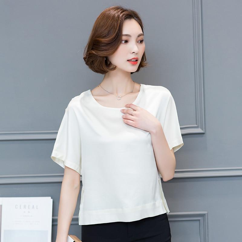Купить корейские модные шелковые блузки рубашка женские однотонные