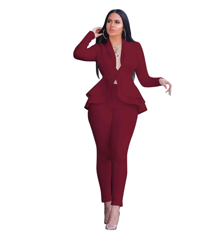 Tweedelige Set Vrouwen Kantoor Vrouwelijke 2 Delige Set Voor Vrouwen Lange Mouw Pak Broek Twee Stukken Sets Winter Vrouwen suits