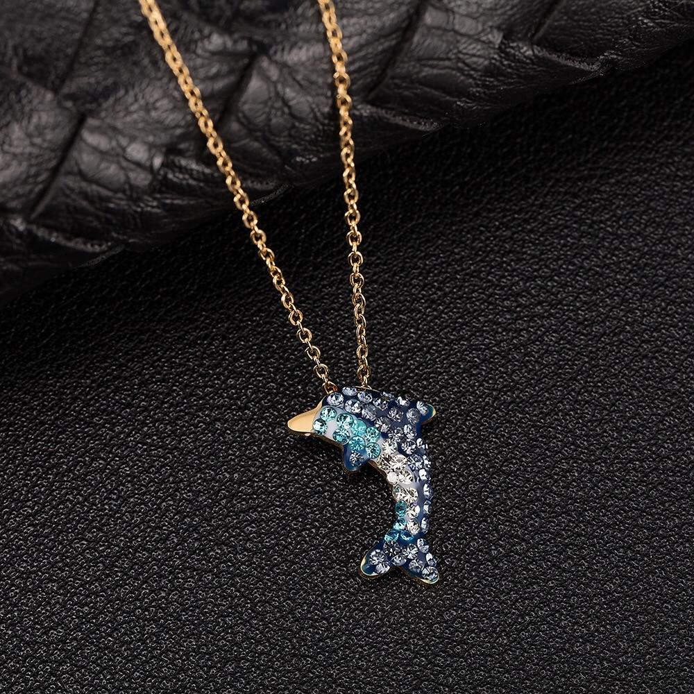 Ensemble de montre diamant Bracelet mignon dauphin collier cadeaux de dame 8