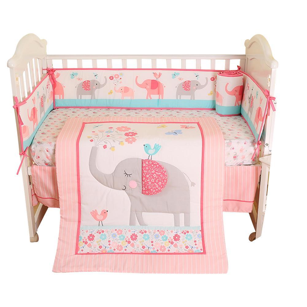 Literie bébé quatre pièces rose brodé enfants confortable pare-chocs Pad drap housse lit propagation