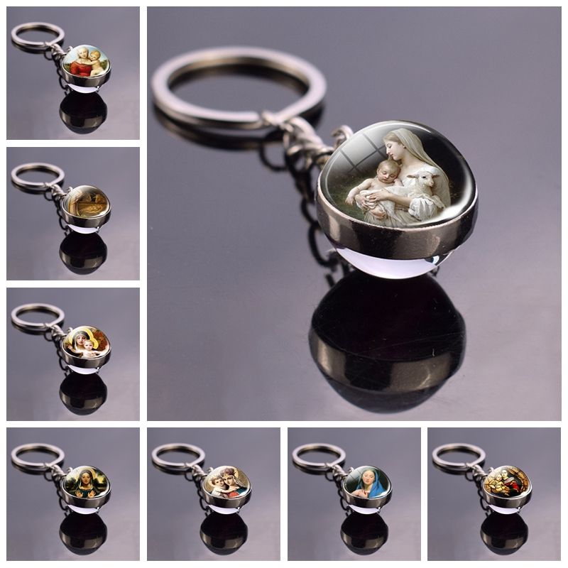 Blessed Virgin Mary Mother Of Baby Jesus Keychain Double Side Glass Ball Keyring Catholic Christian Key Chain Ring Key Holder