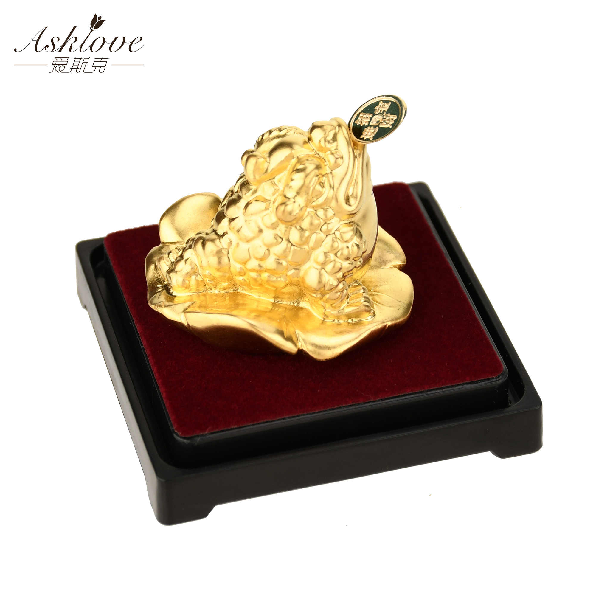 24k Lamina D'oro Rana Feng Shui Rospo Cinese Golden Frog Denaro Fortunato Fortuna Ricchezza Ufficio Tavolo Ornamento Complementi Arredo Casa fortunato regali