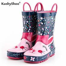 KushyShoo çocuk yağmur çizmeleri çocuk lastik çizmeler ile 3D tavşan desenleri çocuk çizmeleri kız Toddler su ayakkabısı yağmur çizmeleri