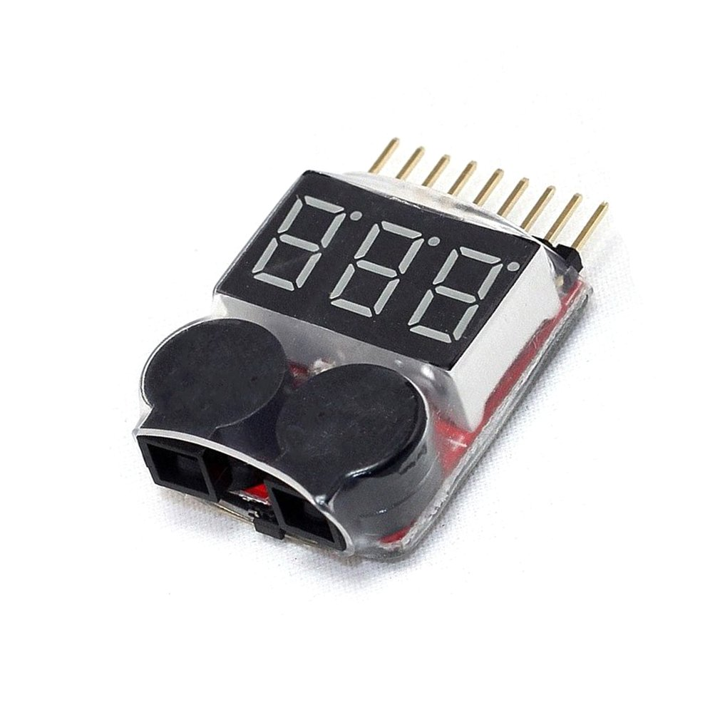 1-8S LED Low Voltage Buzzer Alarm Lipo Voltage Indicator Checker Tester Alarm Lipo Checker Tester Dual Speaker