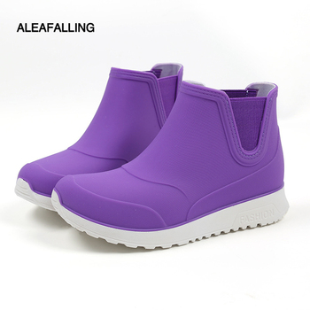 side flower rain boots women waterproof rubber fashion rainboots wedges casual high quality ankle short boots water shoes female Rain shoes female anti-skid rain boots parent short tube leisure fashion water shoes children student rubber boots