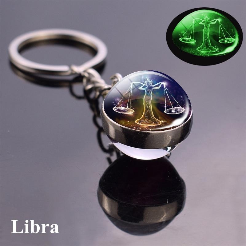 12 takımyıldızı ışıklı anahtarlık cam küre kolye zodyak anahtarlık Glow karanlık anahtarlık tutucu erkekler kadınlar doğum günü hediyesi 5