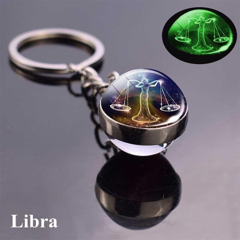 12 takımyıldızı ışıklı anahtarlık cam küre kolye zodyak anahtarlık Glow karanlık anahtarlık tutucu erkekler kadınlar doğum günü hediyesi