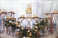 5pcs/lot party food table gold or white metal cake stand flower holders Wedding Decoration dessert table welcome