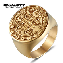 oulai777 mes signet-ring 2019 Wholesale stainless steel rings Big gold male ring fashion jewelry letter mens accesories Punk