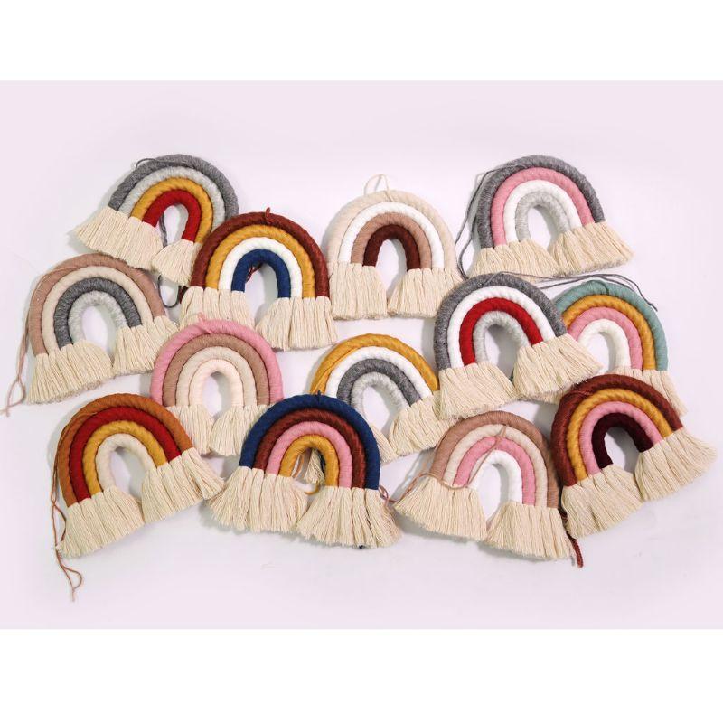Hot Macrame Rainbow Wall Hanging Boho Hand-woven Tapestry Home Decoration