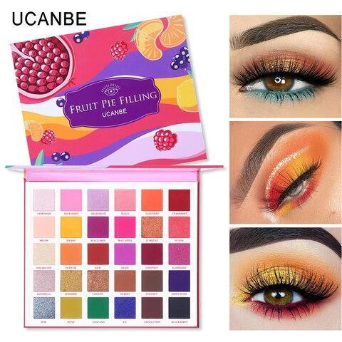 ucanbe 30 cores torta de frutas enchimento sombra de olho paleta kit maquiagem vibrante brilho