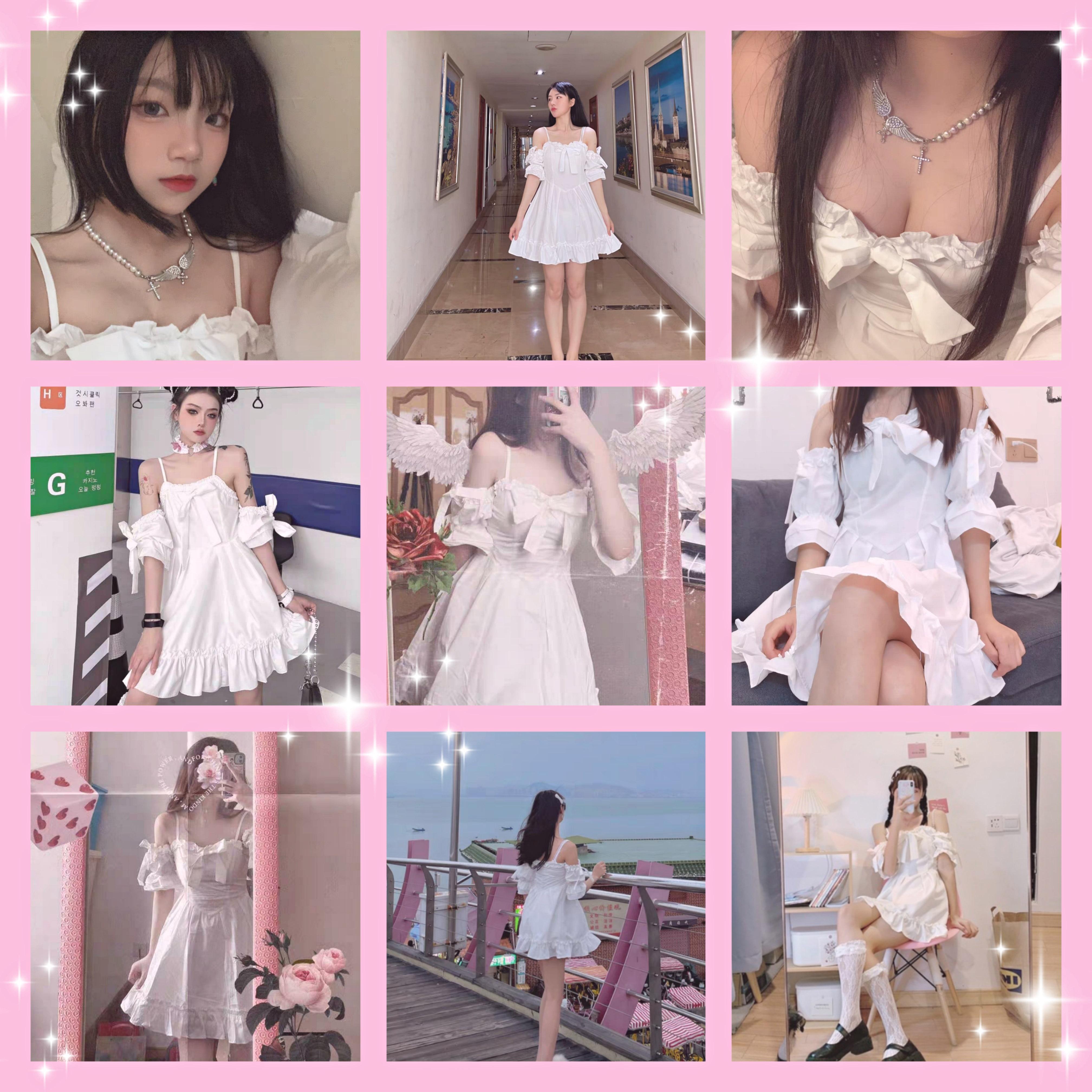 White Kawaii Fairy Strap Dress Women Patchwork Off Shoulder Sexy Party Mini Dresses Bow Ruffle Sweet Cute Princess Sundress 2021
