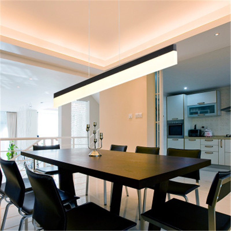 Modern Creative Rectangular Design LED Chandelier Concise Restaurant Lamp Bar Studio Office Hanging Light Free Shipping