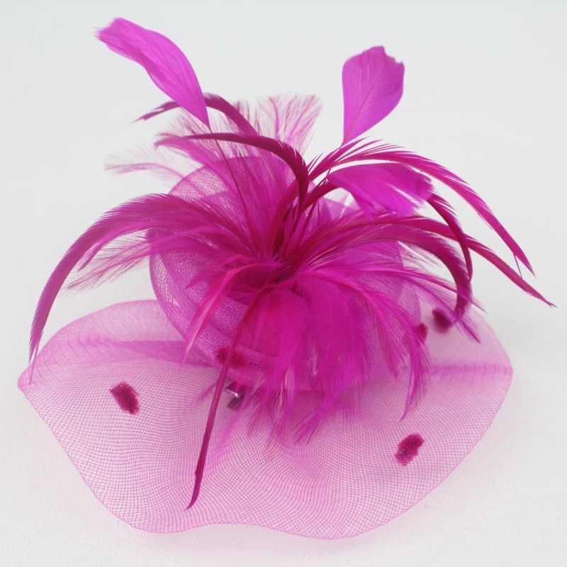 Wedding Party Cocktail Sluier Mini Hoed Cap Feather Veil Hair Clip Fascinato 2018est Nieuwe Vcqy