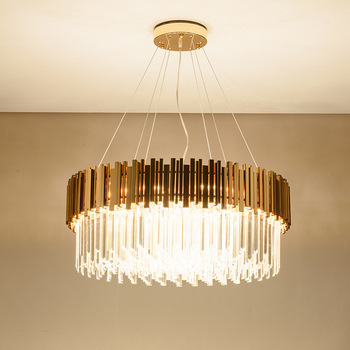 Современная хрустальная люстра для гостиной роскошные золотые круглые люстры из нержавеющей стали