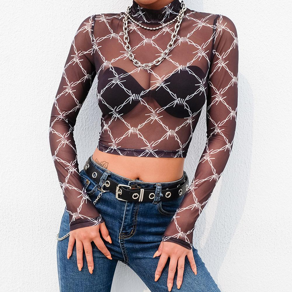 Crop <font><b>Sexy</b></font> Mesh <font><b>T</b></font>-shirt Women Fashion Plaid Perspective Short Navel Strech Backing <font><b>haut</b></font> <font><b>femme</b></font> mujer chemise nouveau 2 image