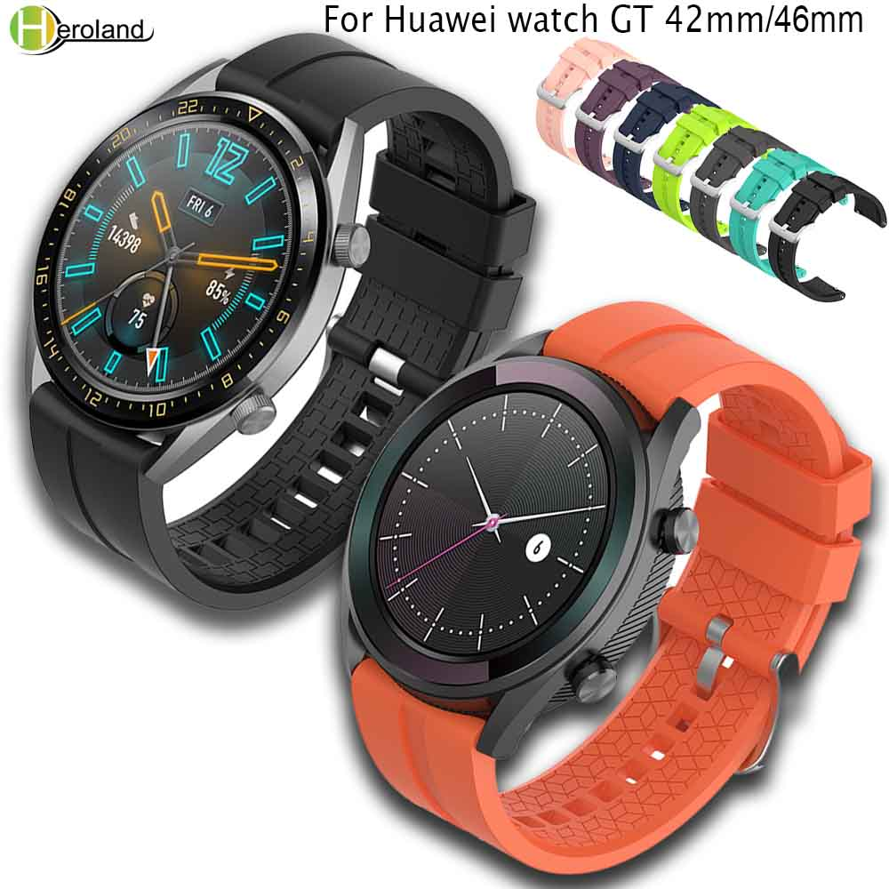22MM Silicone Watch Band Strap For Huawei Watch GT 46mm/42mm/samsung Gear S3 Sports Replacement WatchBands Smartwatch Band