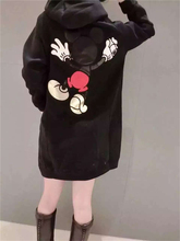 New Autumn Winter Women Dresses Mickey Cartoon Print Casual Loose Clothing Big Size Hooded Mini Dress Girl Cute Black Fashion