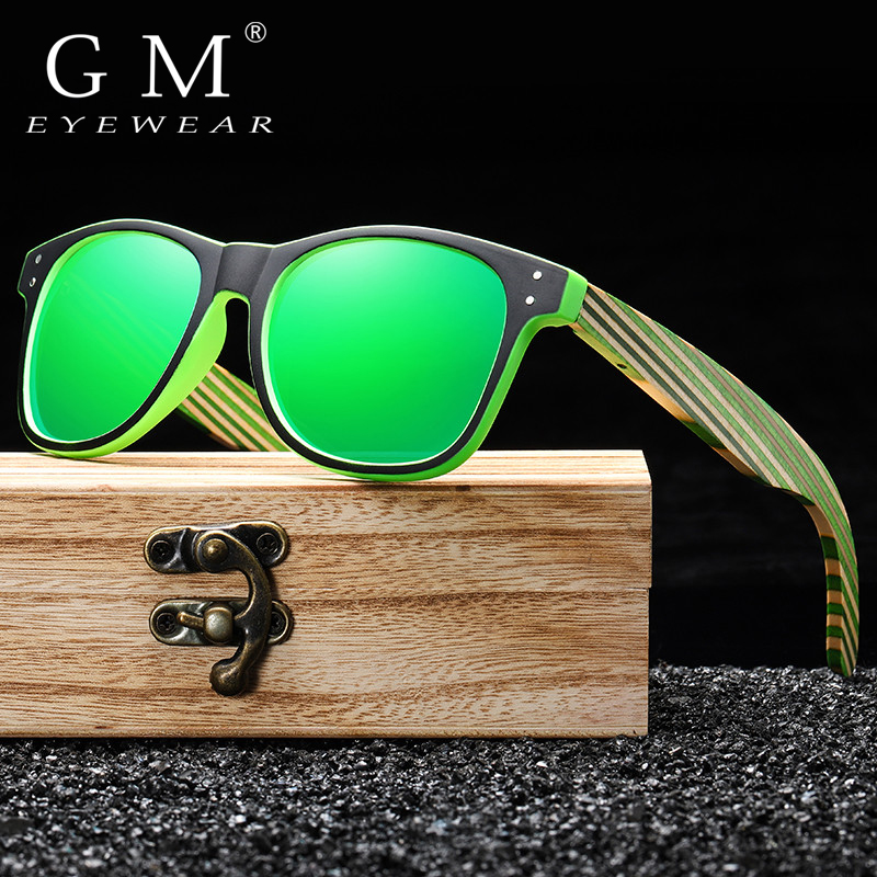GM Polarized Sunglasses for Boys and Girls with Recycled Frames and Color Wood Temples S5088