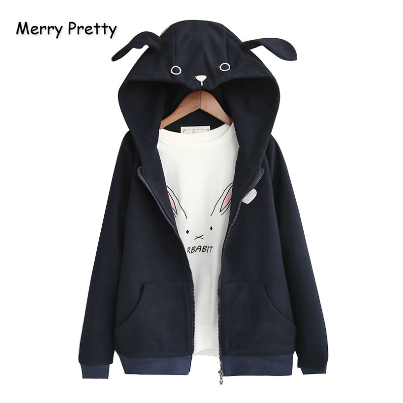 Merry Pretty Woollen Women's Cartoon Embroidery With Ears On Hooded   Basic     Jackets   2019 Winter Long Sleeve Casual Zippers Coats