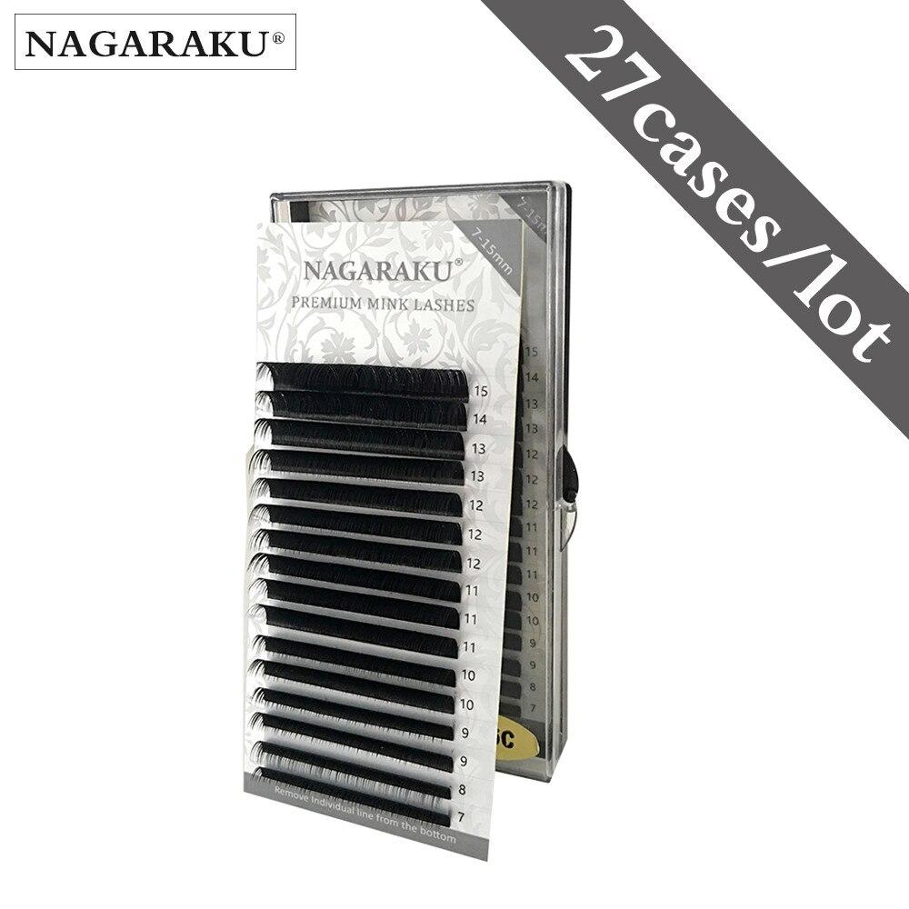 NAGARAKU rzęsy z norek makijaż Maquiagem 27 przypadków lot 7-15mm Mix indywidualne rzęsy wysokiej jakości naturalne miękkie syntetyczne norek