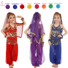 Детский набор костюма для танца живота Восточные Танцевальные костюмы для девочек Египетский Болливуд индийский танец живота одежда Индия 8 цветов