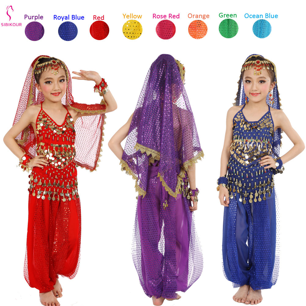 Kids Belly Dance Costumes Set Oriental Dance Costumes Girls Egypt Egyptian Bollywood Indian Belly Dancing Clothing India 8 Color