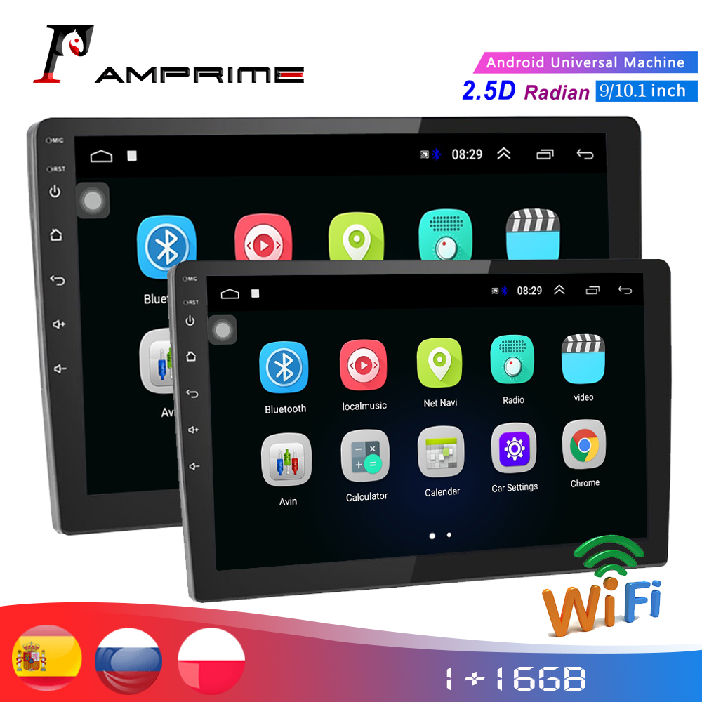 AMPrime 2din Car Multimedia Player 9/10 Android Car stereo Radio GPS WIFi Autoradio Bluetooth Mirrorlink Tape recorder RearView image