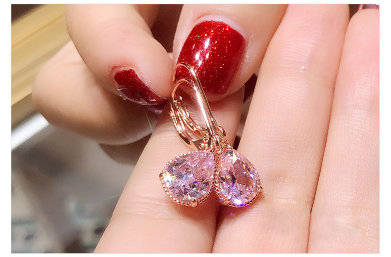 H350203ecb5204505b3fb6dbef16062e0P - 14K Rose Gold Pink Diamond Earring for Women Fashion Pink Topaz Gemstone Bizuteria 14K Gold Garnet Drop Earring Orecchini Girls