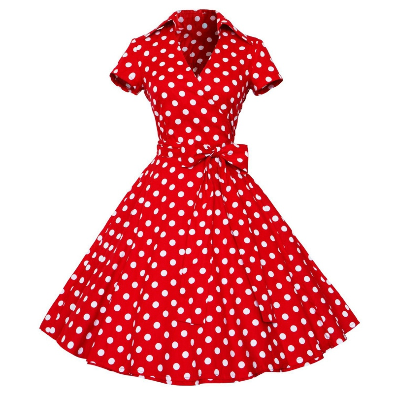 Women Ladies Hepburn Style Summer Dress Polka Dot Short Sleeve High Waist Big Swing Tutu Dresses Plus Size Vestido