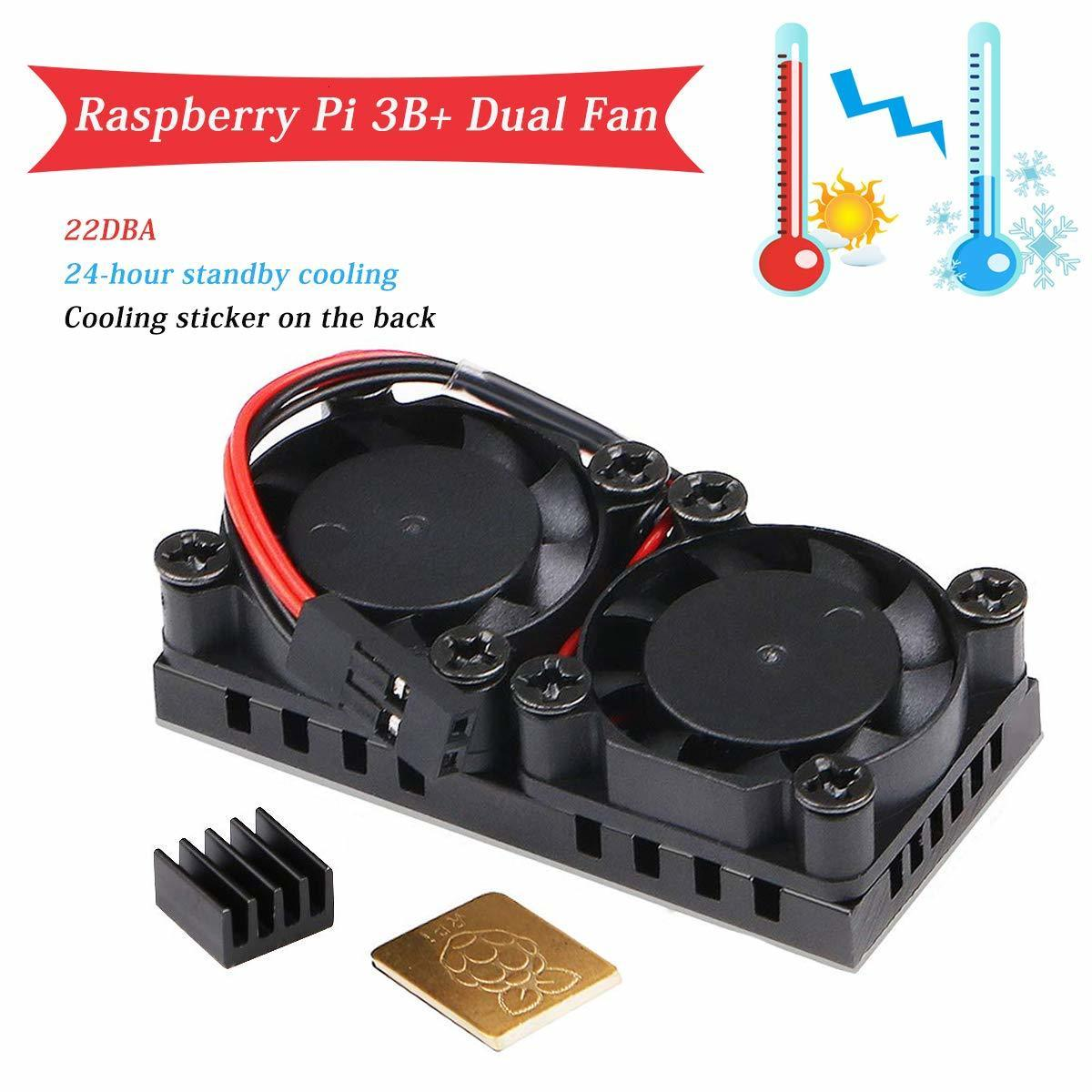 Raspberry Pi 4 Model B Dual Fan with Heat Sink Ultimate Double Cooling Fans Cooler Optional for Raspberry Pi 3/3B+/4B