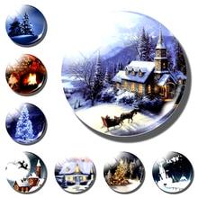 Рождественский сказочный мир магнит на Холодильник Снежный домик Санта-Клаус Лось декоративный холодильник магнитные наклейки Рождественский Подарочный декоративный