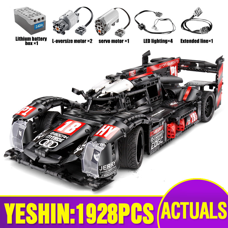 DHL Technic Car The Lepining Black R18 Speed Motor Car Set RC Assembly Car Model Toys Kids Christmas Gift Building Blocks Bricks