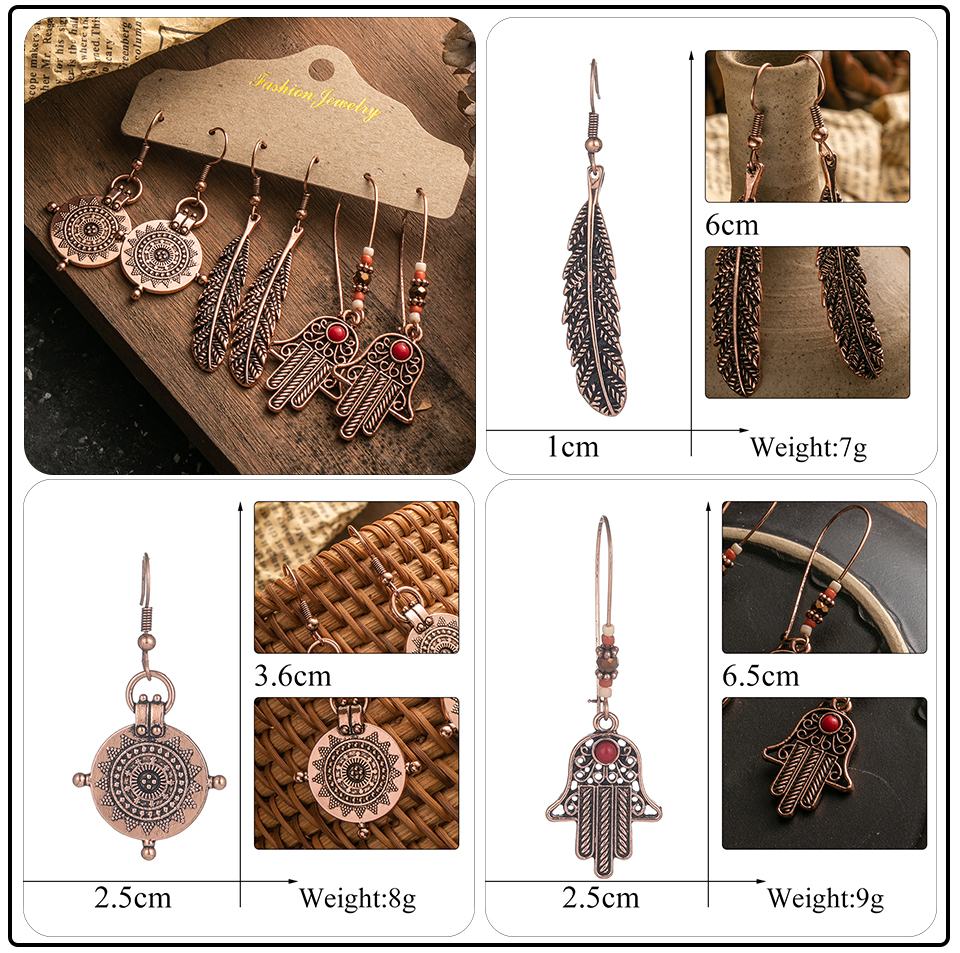 Ethnic Rose Gold Metal Tassel Fringe Womens Earrings Sets Jewelry Bohemia Vintage Round Circle Leaf Butterfly Geometric Drop Earrings Dropshipping Wholesale (10)