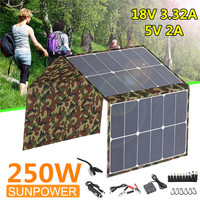 250W Foldable Solar Panel 18V/5V Portable Solar Cell Camouflage Waterproof Charger Sun power Battery Charger W/ Dual USB Port