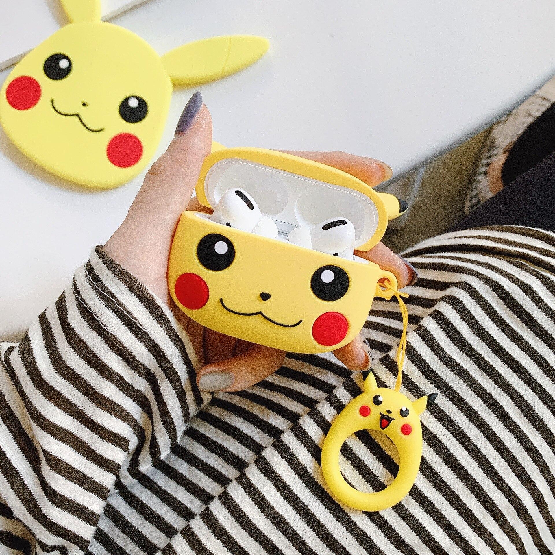 Takara tomy pokemon airpods pro silicone caso kawaii pikachu dos desenhos animados anti-gota bluetooth fone de ouvido caixa protetora presentes