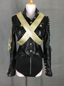 Stage Costumes for Singers Dance Costume Stage Dj Service Leather Military Roupa Feminina  Rhinestone Bodysuit 2 Pcs/set 2020