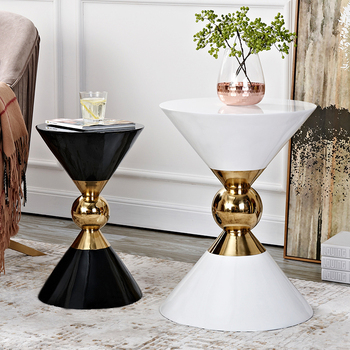 Luxurious style living room side tables Gold Tea-table sofa End-table white and black side coffee table renmen side table walnut