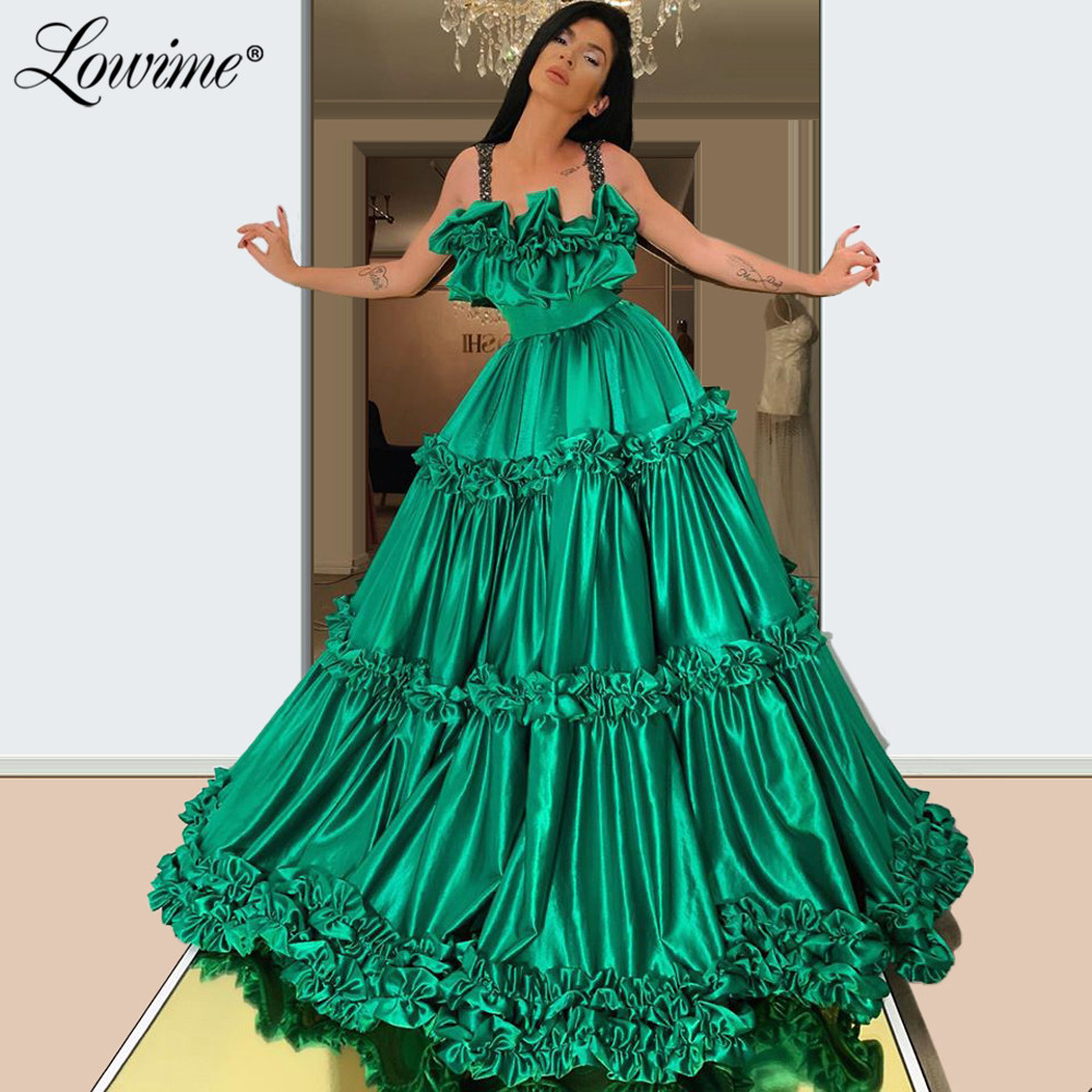 Green A Line Long Prom Dresses 2020 New Arrival Beaded Straps Pageant Party Dress Satin Elegant Evening Gowns Robe De Soiree
