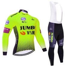 Veste de cyclisme en polaire thermique pour homme, vêtement de pro, Maillot de cyclisme, équipe JUMBO, hiver 2020, 20D