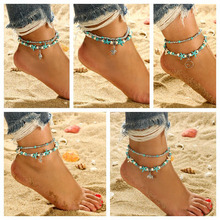 цена на Bohe Shell Starfish Tortoise Anklet Summer Beach Stone Foot Bracelet Layered Green Beaded Anklet Women Jewelry Pulseras WD604