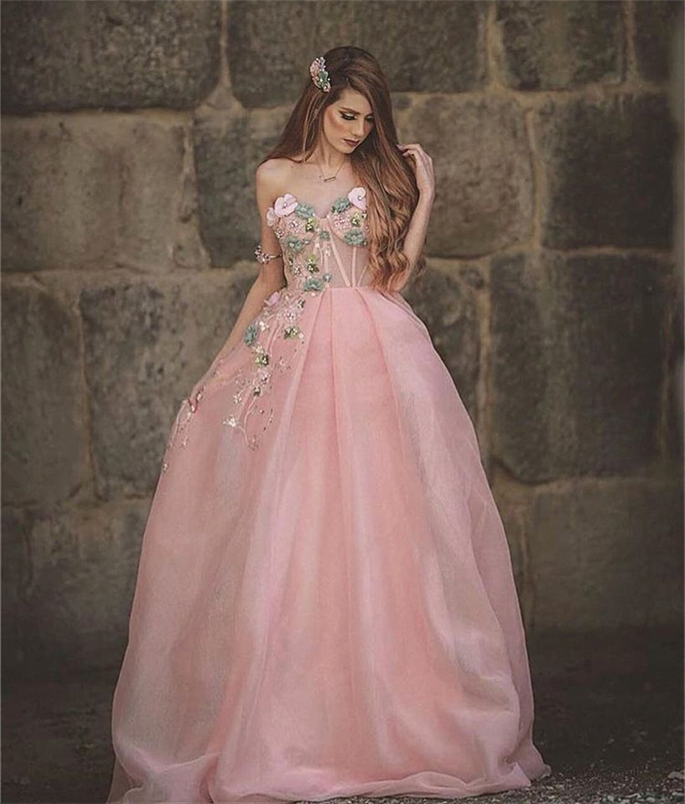 Rose Pink Evening Dress One Shoulder Flowers Tulle Sweetheart Neck Sleeveless A-line Floor Length Prom Dress вечернее платье