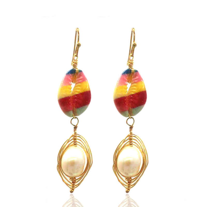 Earrings Ladies Fashion Natural Pearl Print Shell Brand Boucles d 39 oreilles Bohemian Jewelry Accessories Gifts in Drop Earrings from Jewelry amp Accessories