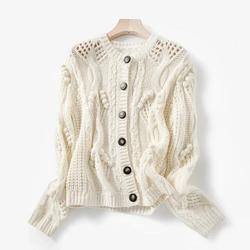 Женский вязаный свитер с вырезами, однобортный Кардиган с круглым вырезом и длинными рукавами, трикотажное повседневное пальто, весна 2020