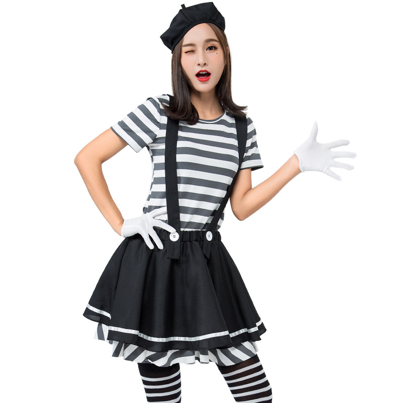 Adult Lady Mime Artist Costume Silent Movie Halloween Ladies Fancy Dress Outfit