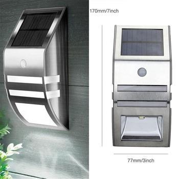 1 sztuk wodoodporny IP65 oswietlenie ogrodu słonecznego bezpieczeństwa czujnik ruchu Led Panel zasilany energią słoneczną lampa ścienna Lampada PIR ze stali nierdzewnej tanie i dobre opinie oein CN (pochodzenie) 3 2 V SOLAR STAINLESS STEEL Brak Żarówki led Nowoczesne HOLIDAY Bateria litowa