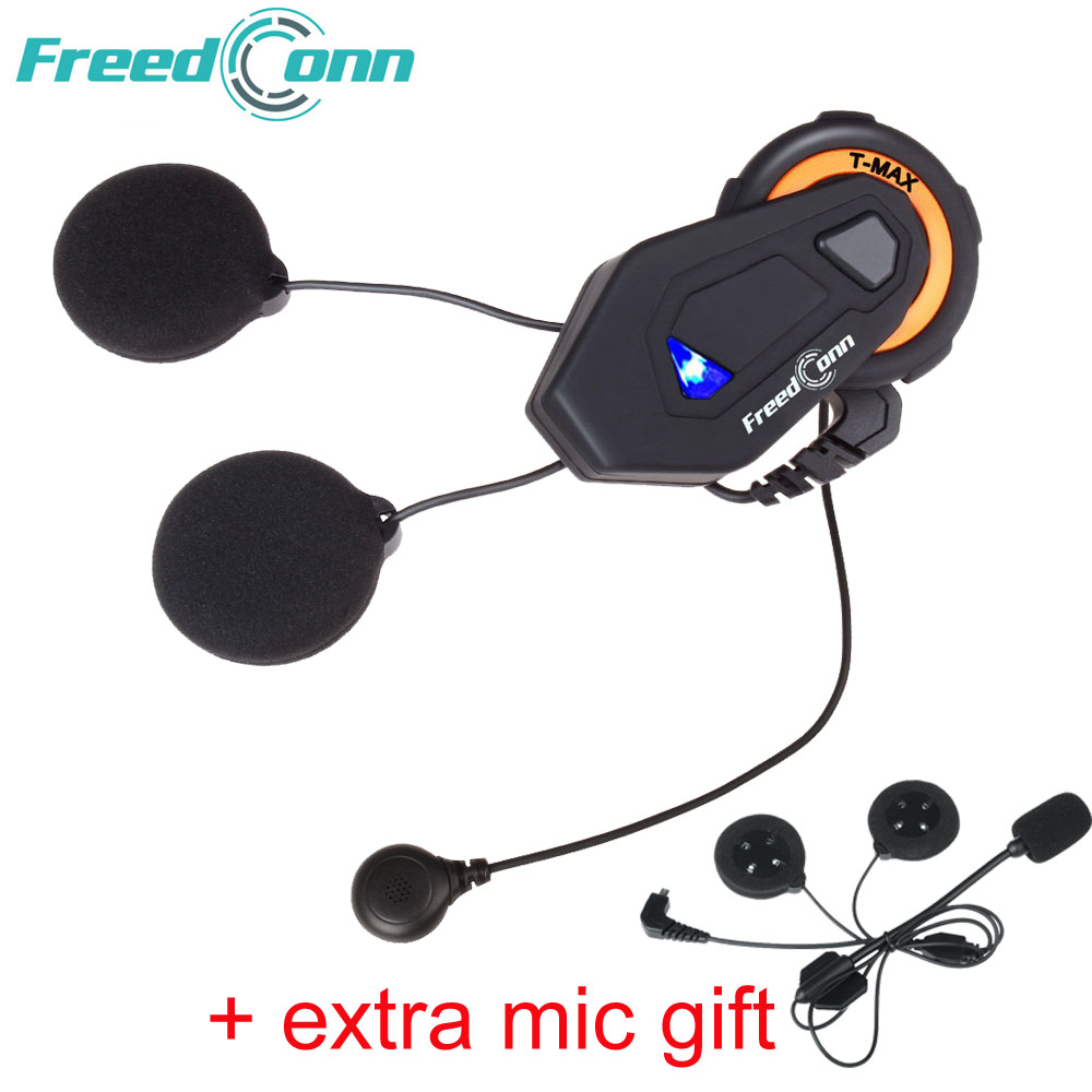 Freedconn T-max Intercom 6 Riders Talk 1000m Helmet Earphone FM Radio Bluetooth 4.1 Motorbike Speaker Headset Soft Hard Mic