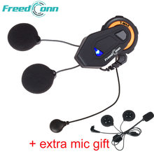 Freedconn T-max intercom 6 riders talk 1000m helmet earphone FM Radio Bluetooth 4.1 motorbike speaker headset soft hard mic(China)