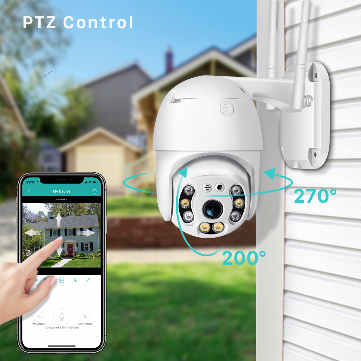 H350403885bb848948d026192abdc7b315 BESDER H.265 PTZ IP Camera 2MP WiFi Cloud Storage Motion Voice Alert Dual Antenna Dual IR Light PTZ Security Surveillance Camera