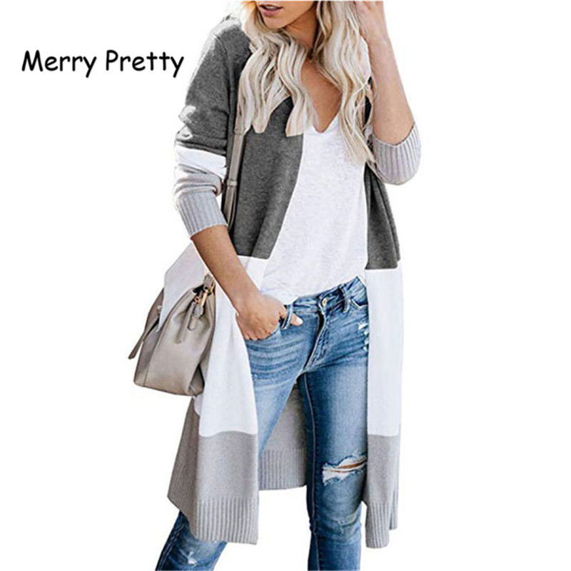 Merry Pretty Autumn Hot Sale Women Cardigans Contrast Color Knit Patchwork Long Cardigan Loose Cardigan Knitwear Sweater Female
